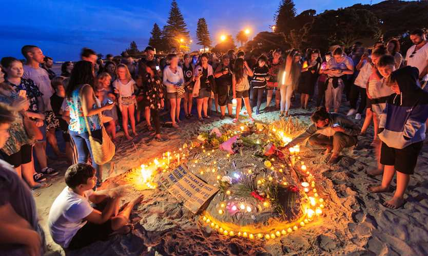 A night vigil on Mount Maunganui for the victims of the March 15 Christchurch mosque shootings in New Zealand