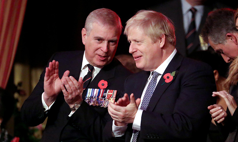 Prince Andrew and Boris Johnson at the Royal British Legion Festival of Remembrance at the Royal Albert Hall in London earlier in November
