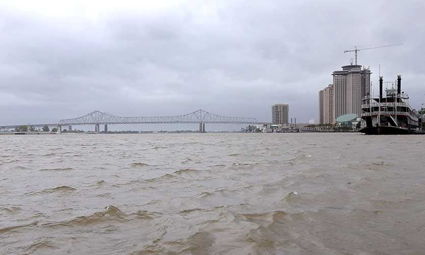A view of the Mississippi River as Tropical Storm Barry approaches land in New Orleans, Louisiana, U.S. July 12, 2019.