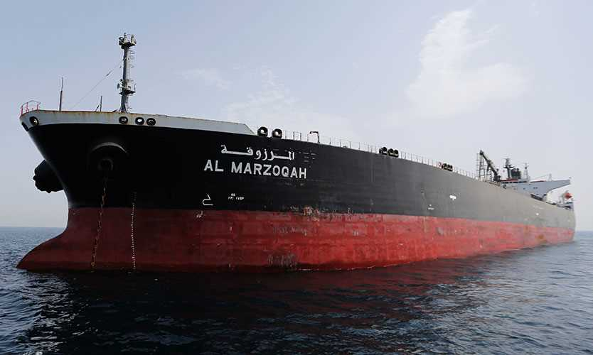 Damaged tanker Al Marzoqah is seen off the Port of Fujairah, United Arab Emirates, May 13, 2019.