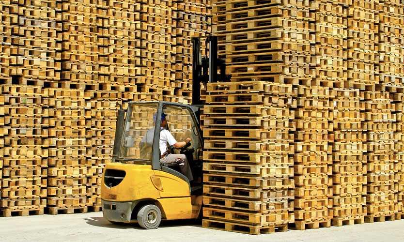 Forklift and transport pallets