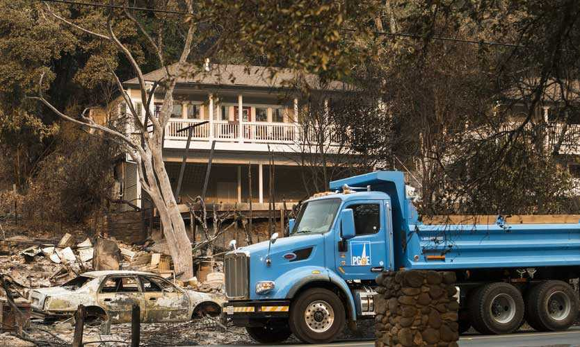 PG&E truck after Sonoma wildfire